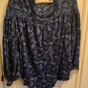 Silky blue blouse